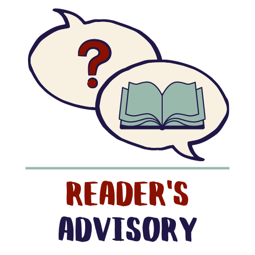 Question mark and a book in two conversation bubbles - Reader's Advisory