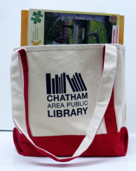 Tote bag with puzzles and books in it