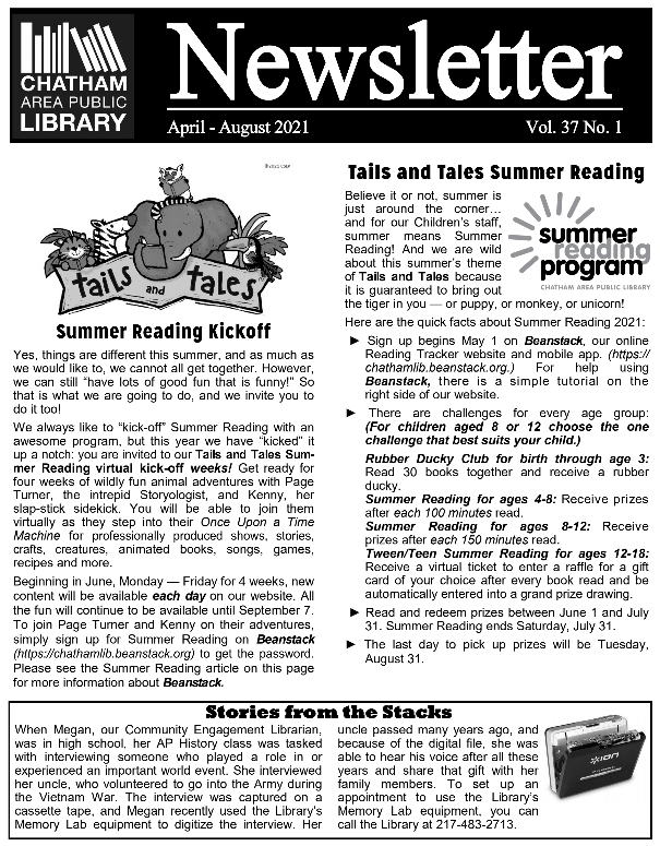 Black and white image of the first page of the library's newsletter