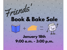 Light blue and purple with polka dot design with a book, plus sign, a pie, and equal sign, and the Friend's Logo.