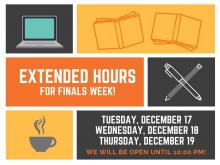 An image describing extended hours dates and times.