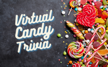 "Photo of candy on the right side and words ""Virtual Candy Trivia"" on the right side of the design."