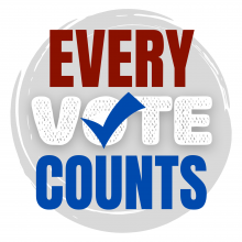 "Gray circle with red, white, and blue text that says, ""every vote counts."" The ""o"" in vote has a checkmark inside of it."